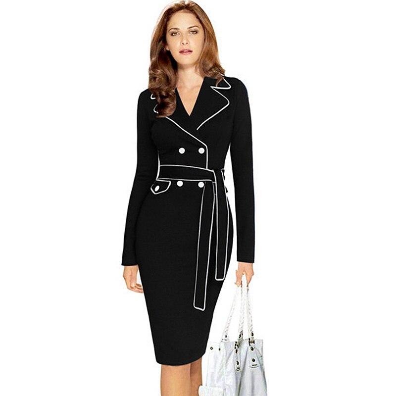 BRASEI 2016 Knee Length Patchwork Women pink Dress Elegant Tunic Office  Female Work Dress Plus Size Slim Bodycon Pencil Dresses-in Dresses from  Women s ... 40c0b2001002