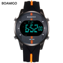 BOAMIGO sport digital watch men Alloy 3Bar Water Resistant Alarm fitness LED display wristwatch fashion Reloj de hombre new 2019
