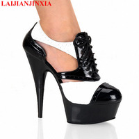 LAIJIANJINXIA New Mature Black And White Platform Women Shoes 15Cm High Heels Hollow Out 5Cm Platform Fetish High Heels 2018