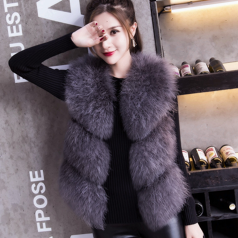 2019 Pure Good Handfeel and Quality Factory Sale Real Ostrich Fur Vest for women Autumn Spring