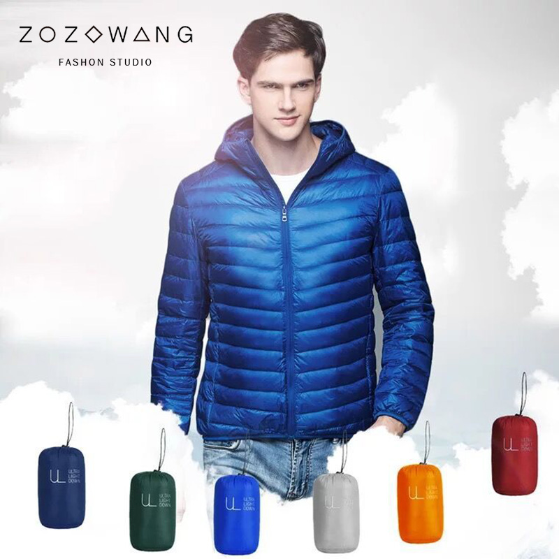 ZOZOWANG 2019 Spring Winter Jacket 90% White Duck   Down   Jackets Men   coat   Hooded Ultra Light   Down   Jackets Warm Outdoors parkas