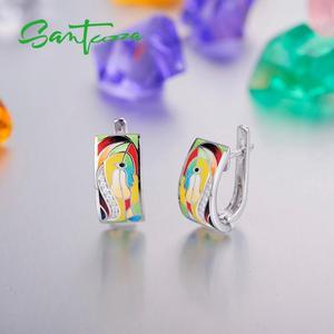 Image 5 - SANTUZZA Silver Earrings For Women 925 Sterling Silver Face Earrings White CZ  Stones Fashion Jewelry Colorful Enamel Handmade
