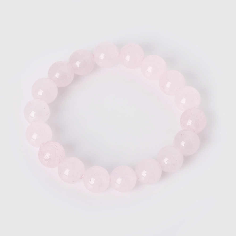 1PC Charm Bracelet With Natural Stone Beads 6 8 10mm Pink Quartz Yoga Beaded Bracelet For Women Man Best Friend Gift