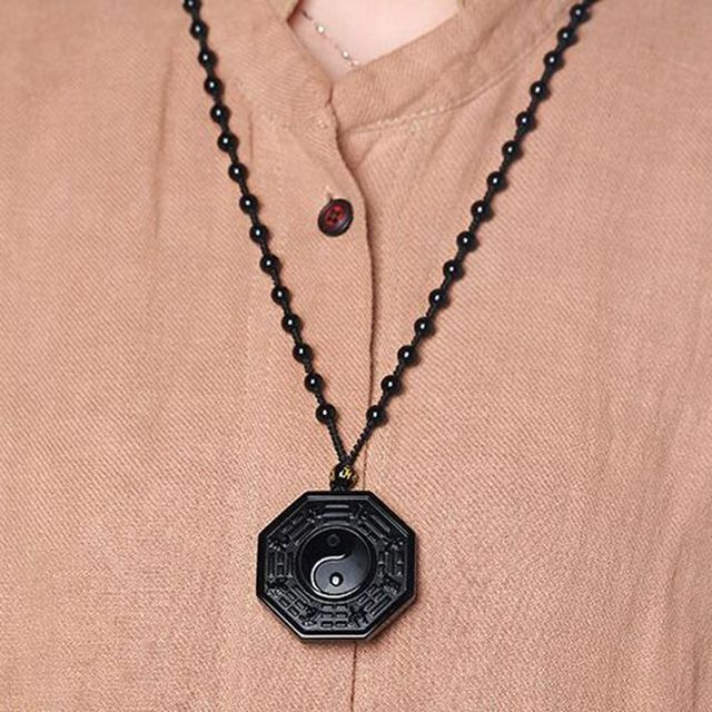 Obsidian Carved Yin Yang Ba Gua Necklace