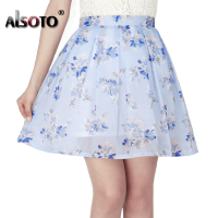 ALSOTO Summer Women Fashion Chiffon High Waist Pleated High Quality Printing Lovely Mini Puff Skirt Jupe Female Tutu