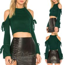 2018 Women Round Neck Solid Color Off Shoulder Lantern Sleeve Bangdage Crop Tops T Shirt  Shirts