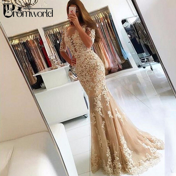 Champagne Evening Dresses 2020 Half Sleeves Tulle Appliques Lace Backless Long Evening Gown Mermaid Prom Dresses Robe De Soiree abendkleider prom gown khaki full sleeves mermaid evening dresses 2019 peplum abiye robe de soiree elegant evening dress long