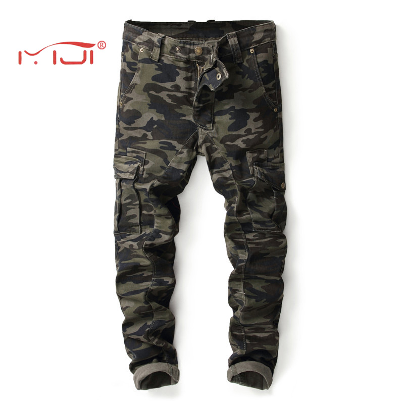 Men Denim Jeans Pants 2018 New Fashion Military Style Camouflage Trousers Multi-pocket Splicing Stretch Jeans 28-38