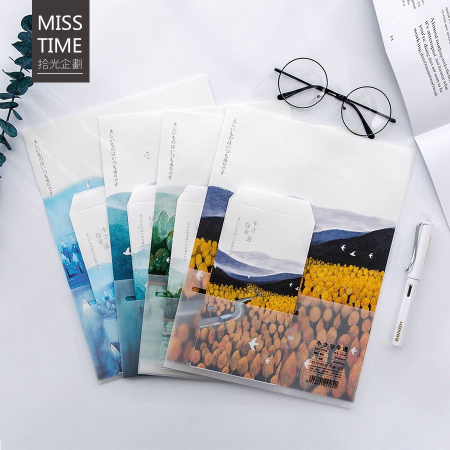 9pcs/Set 3 Envelopes+6 Writting Paper Small Lucky Series Envelope For Gift Stationery School Supplies