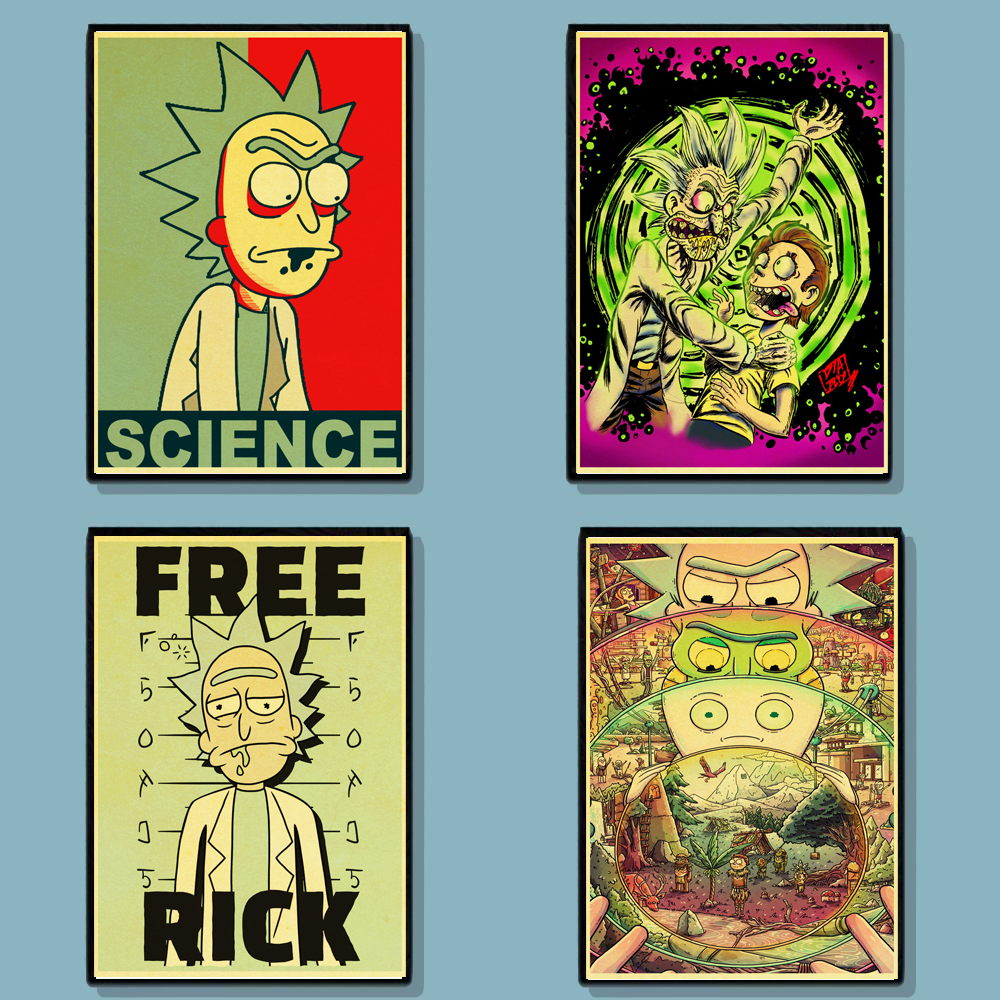 Cartoon Poster Rick And Morty Retro Vintage Posters Kraft Wall Paper High Quality Painting For Home Decor Wall Stickers