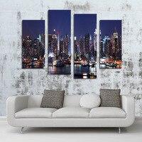 الموضة hd قماش اللوحة 4 لوحات ضخمة مدينة ليلة الرؤية الرئيسية يطبع الصورة المؤطرة جدارية ديكور جدار الفن صورة لغرفة المعيشة
