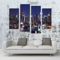 Fashion HD Huge Canvas painting 4 Panels City Night View Home Decor Wall Art Picture Prints Unframed Mural Image for Living Room