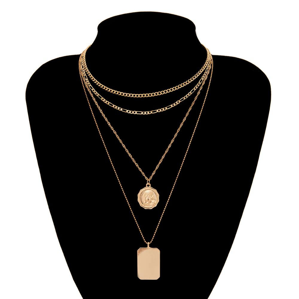 Ingemark Multilayer Carved Coin Choker Necklace 2019 Fashion Statement Square Pendant Long Chain Necklace Women Jewelry Gifts in Pendant Necklaces from Jewelry Accessories