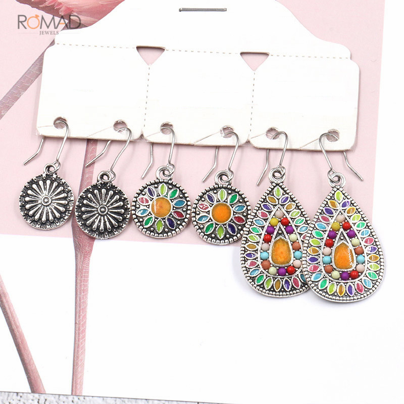 Romad 3 Pairs/Set Vintage Earrings Bohemian Boho Ethnic Dangle Drop For Women Girl Antique Hanging Jewelry W3
