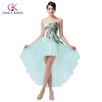 Chic Peacock Designer Blue Pale Turquoise Short Cocktail Party Dress Vogue Homecoming High Low Prom Masquerade