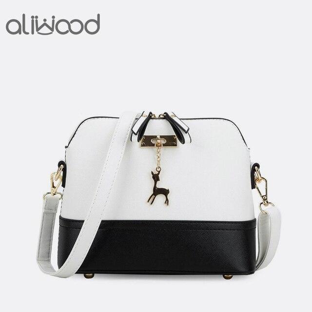 Aliwood Conchas Saco Marca de Moda das Mulheres Bolsas de Couro de Alta Qualidade bolsa de Ombro Fêmea Sacos Do Mensageiro para Meninas Veados Decorativos