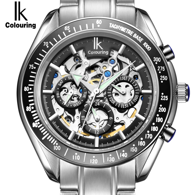 IK Man Automatic Mechanical Watches Men Luxury Brand Date 24 hours Stainless Steel Skeleton Watch Military Army Business relogio ik brand luxury automatic mechanical watches men sub dial function date 24 hours display genuine leather skeleton watch relojes