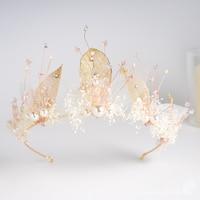 Charming womwen crown Gold color leaf crystal tiara rhinestone hair ornaments pearl bridal hairband wedding accessory shanran