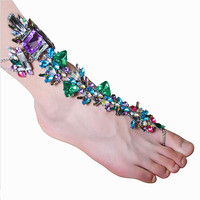 Hot sale 2016 luxury gem crystal anklet women foot chain bridal barefoot sandals foot jewelry summer beach accessory leg chain