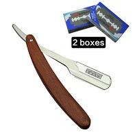 Steel Straight Razor Men Shaving Razors Wood Handle Barber Shaver Classic Scraper 20 Blade