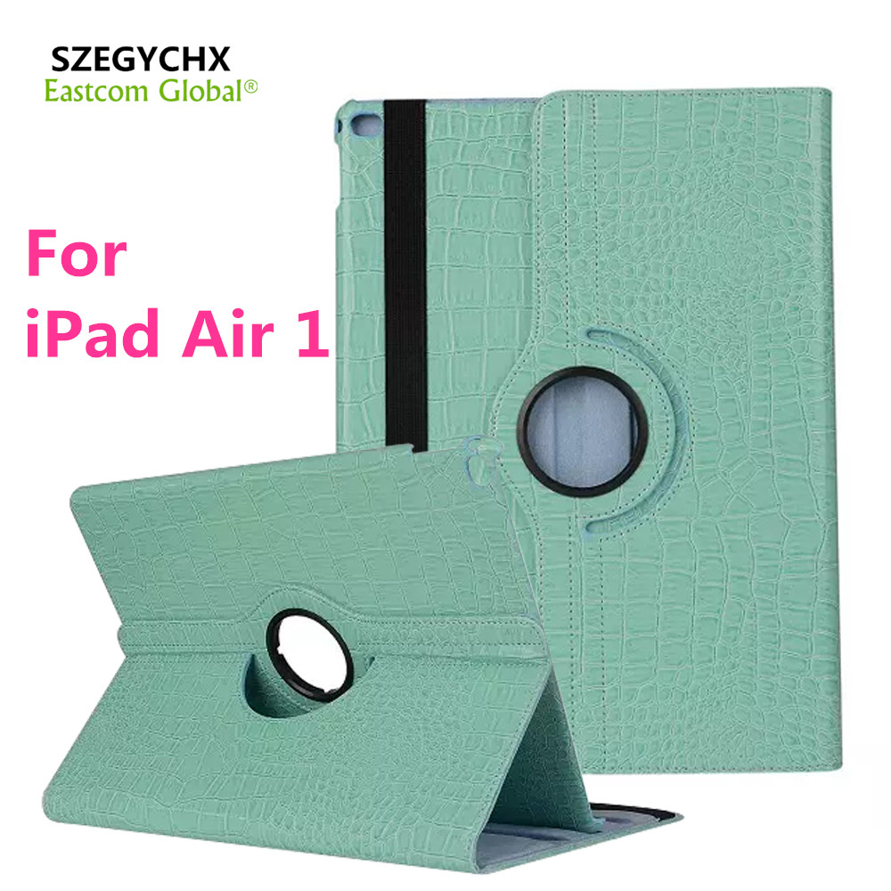 Tablet Case for iPad Air 1 Case 360 Rotation Flip With Stand Function PU Leather Crocodile for iPad Air1 Smart Cover , SZEGYCHX eyw for apple ipad air2 ipad 6 luxury crocodile pattern 360 rotation stand folio pu leather smart cover case for ipad air 2