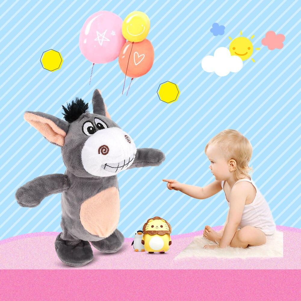 Eléctrico hablando divertido burro vaca grabación felpa juguete electrónico mascota aprender hablar registro eléctrico educación felpa regalo niños