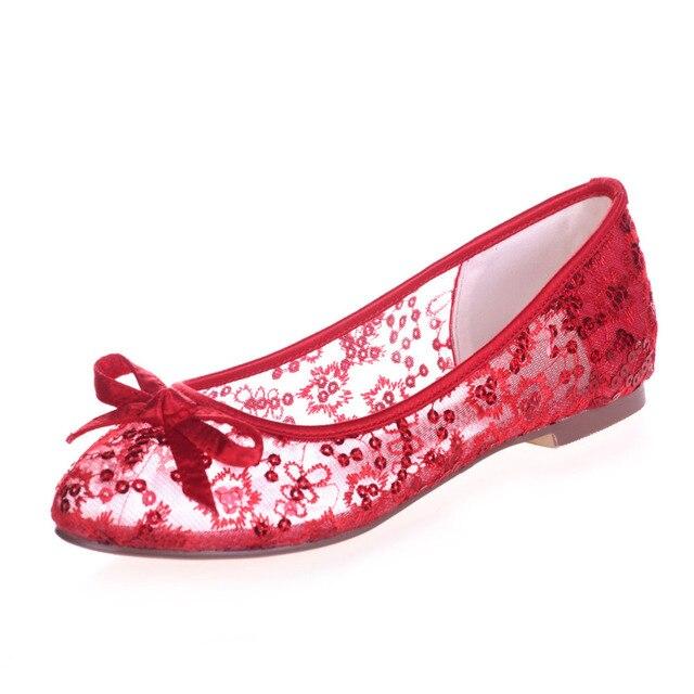 Перспектива прозрачный кружева балета плоские мода блесток летний стиль кружева-бич свадебные туфли голубой розовый красный цвет слоновой кости