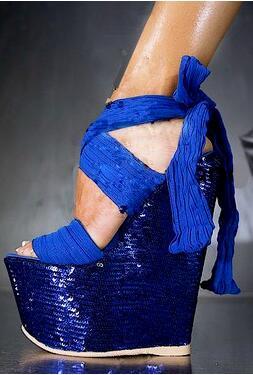 Alta Alla Blu Scintillio Del Della Caviglia Sandali Femminile Stile Spessore Lace Cinturino Delle Abesire Nuovo Vestito up Di Piattaforma Signore Bling Pattini Zeppe Partito 2019 wIqHO