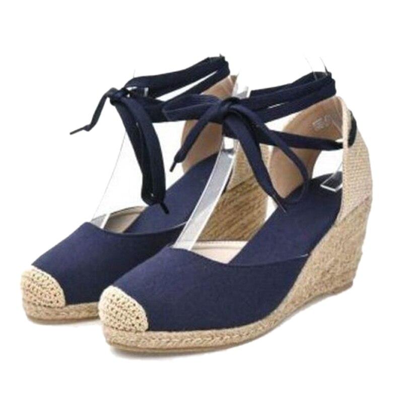 Women Ankle Strap Espadrilles Wedge Sandals 2018 Summer Canvas High Heel Fashion Lace up Women Platform Wedge Sandals Large Size (7) -