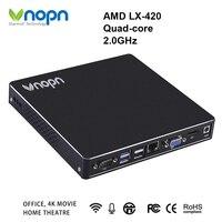 AMD LX 420 четырехъядерный 2,0 ГГц мини ПК с вентилятором Windows OS DDR3L 8G SSD 256G настольные компьютеры 1000 Мбит/с LAN 6 * USB2.0 2 * USB3.0 HD MI компьютер