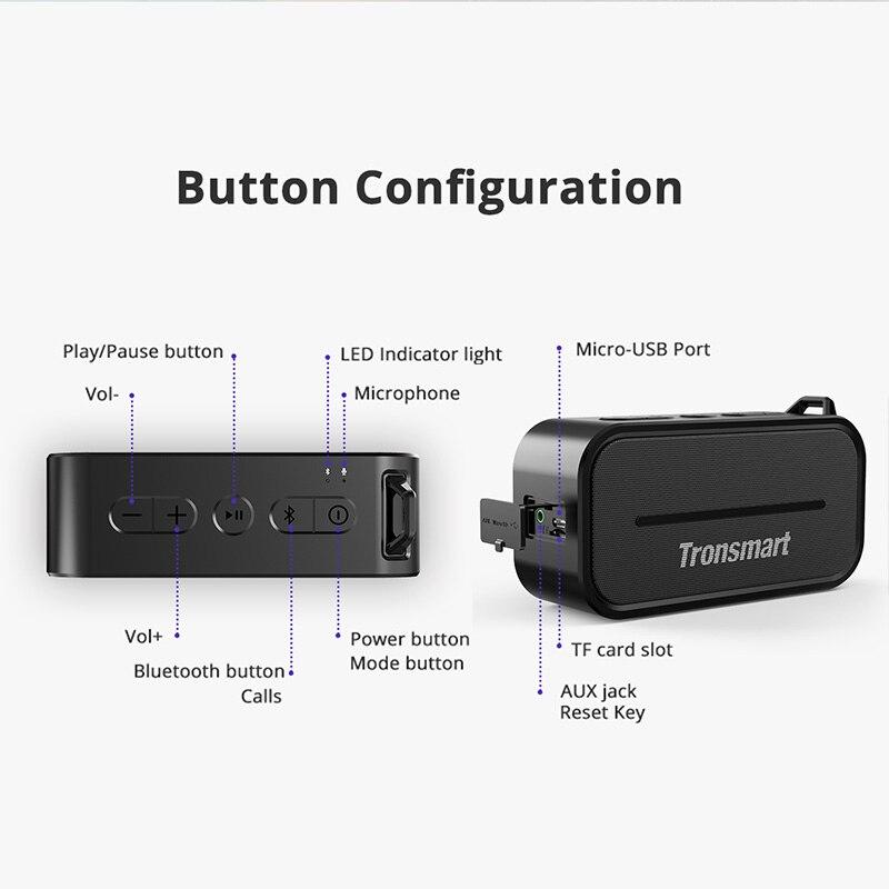 Tronsmart Élément T2 haut-parleur bluetooth 4.2 En Plein Air résistant à l'eau Haut-Parleur Haut-Parleur Portable et mini haut-parleur avec Micro SD - 5