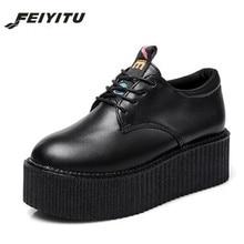 FeiYiTu New 2018 Spring Autumn Creepers Shoes Woman Lace Up Flats Platform Black White Eu Size 35-39