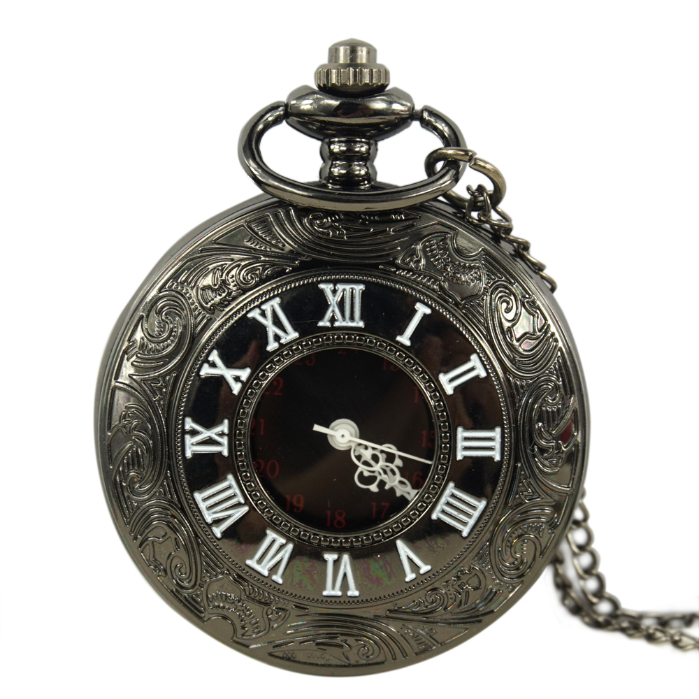 Black Roman Number Pocket Watch Women Men Gift Antique Pocket Watch Pocket Watch Retro Quartz Machinery for Men and Women 2016 aladdin and the magic lamp watch the young men and women fashion quartz pocket watch table birthday gift ds262