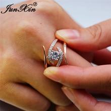 JUNXIN в милом стиле, розовое золото Волнистые кольца для женщин Круглый прозрачный циркон белый кристалл обручальные кольца женские винтажное Помолвочное кольцо ювелирные изделия