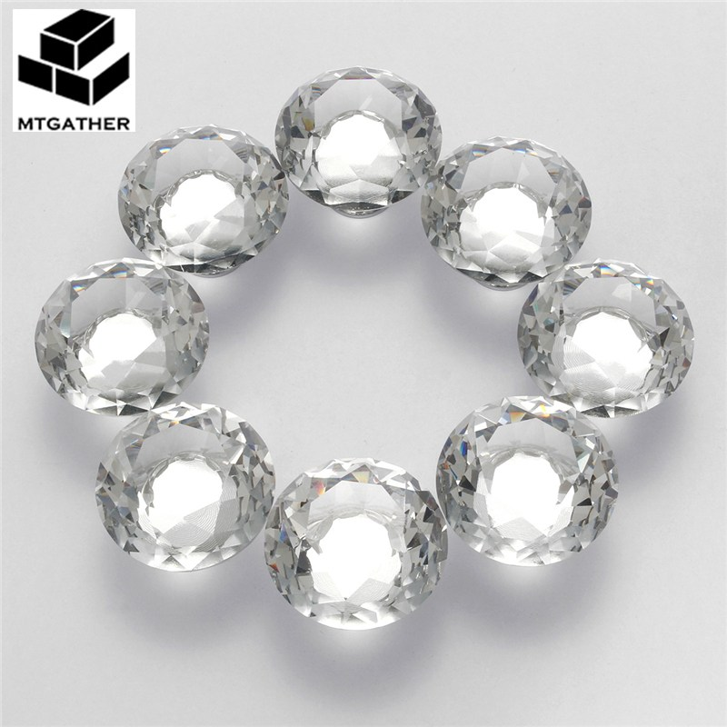 MTGATHER 8PCS 40MM Clear Crystal Glass Diamond Cut Door Knobs Kitchen Cabinet Drawer Knobs+Screw Home Decorating mtgather 8pcs 40mm clear crystal glass diamond cut door knobs kitchen cabinet drawer knobs screw home decorating
