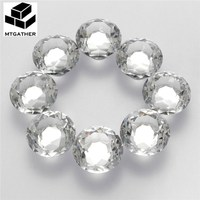 MTGATHER 8PCS 40MM Clear Crystal Glass Diamond Cut Door Knobs Kitchen Cabinet Drawer Knobs Screw Home