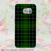 656J Green and Red Scottish Tartan Hard White Case Cover for Galaxy S7 Edge S6 Edge Plus S5 S4 S3 & Mini