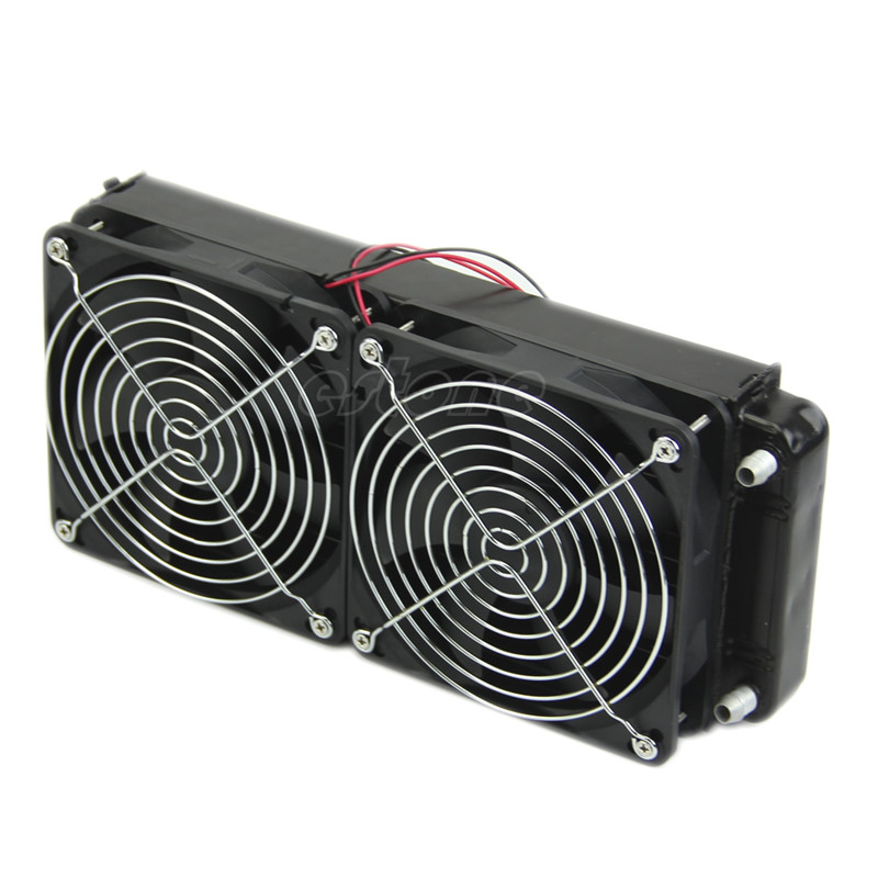 2 x 120 fan 240MM Aluminum Computer Cooler Small Cooling Fan PC Black Heat Sink, Computer Water Cooling Radiator Cooler Fan