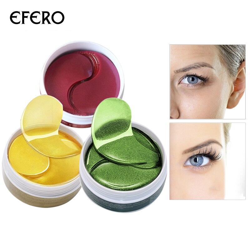 60 יחידות 24 k זהב סרום קולגן עין מסכה מי גבינה חלבון ג 'ל רטיות לעיניים נגד קמטים לחות העין קרם פנים מסכה
