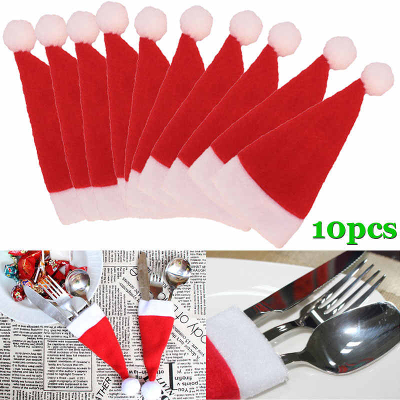 10 pz/set di Natale Cappello Di Natale Posate Sacchetto di Caramelle Sacchetti Regalo Carino Tasca Forcella Cutter Holder Dinner Table Decorazione 899