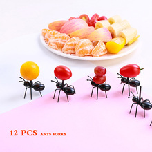 12 Pcs Food Picks Fruit Fork Fourchette Palitos Decorativos Cartoon Ants Forks Cocktail Sticks Creative Vork Kichen Accessories anya d596 creative peking opera facial mask pattern plastic food fruit forks multicolored 12 pcs
