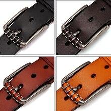 Vintage Alloy Pin Buckle Leather Belt For Men