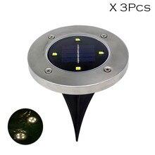 3 шт. Солнечный 4 светодиодный Открытый Путь Свет точечная лампа для двора, сада, газона водонепроницаемый свет забор лестница безопасность прохода Солнечная лампа