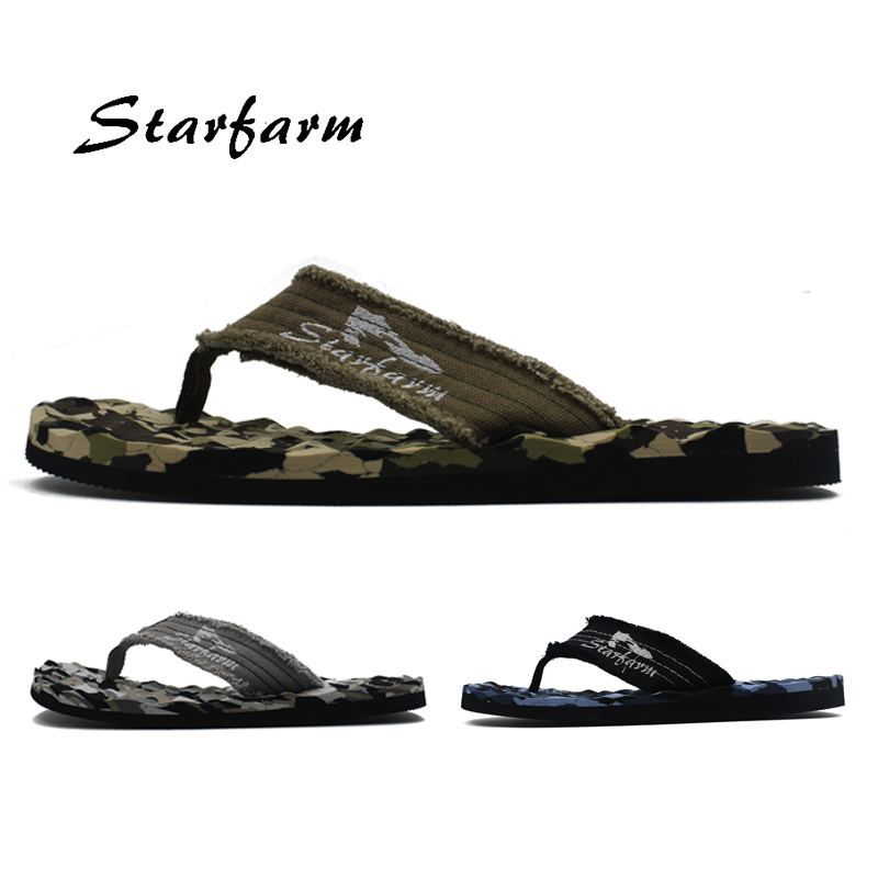 Camouflage Fabric upper EVA outsole Green Gray Blue Flip Flops Men brand Massage sole casual slippers