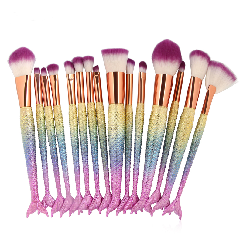 6/10/15pcs Mermaid Makeup Brushes Set Foundation Powder Blending Eyeshadow Contour Concealer Blush Cosmetic Beauty Make Up Kits gujhui 10pcs makeup brushes set cosmetic face foundation powder eyeshadow blush blending contour make up brush with puff and bag