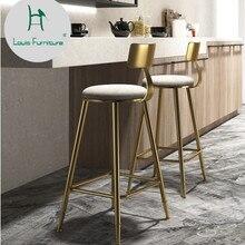 Louis модный барный стул кофе Творческий обеденный золотой простой стул спинки Высокий