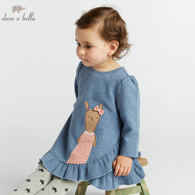 Dave bella lovely little baby girls dresses infant toddler dots clothes children birthday party high quality