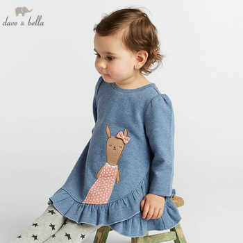 DBM8179 dave bella autumn baby long sleeve dress girls print lovely dress children party birthday high quality clothing - DISCOUNT ITEM  50% OFF All Category