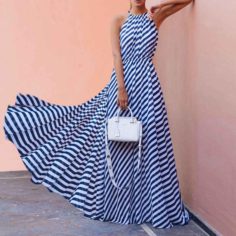 Nieuwe Mode Vrouwen Gestreepte Patroon Halter Floor-lengte Jurk Dame Elegante Zomer Mouwloze Empire Lange Jurk
