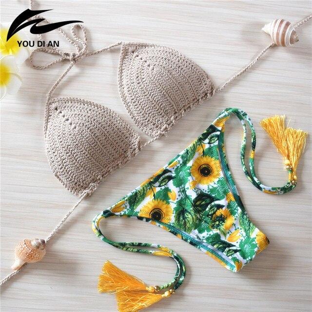 2016 вязаный купальник сексуальные купальники женская летняя обувь платье ручной работы крючком бикини Женщины бразильские Плавки бикини купальный костюм для женщин